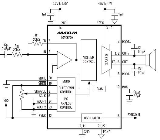 схема включения MAX9768