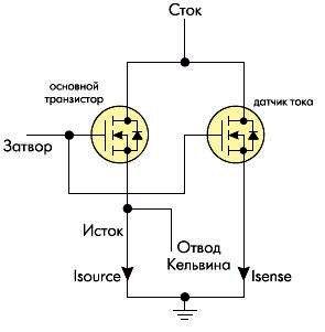 Эквивалентная схема MOSFET транзистора TrenchPLUS с датчиком тока.
