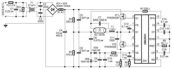 ЭПРА на базе UBA2021, с входной цепью на B380C1500A