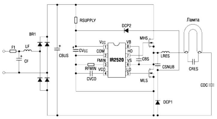 Схема ЭПРА на основе IR2520D