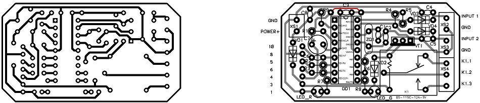 Рис. 4. GSM сигнализация; а - печатная плата GSM контроллера без электронных компонентов; б - печатная плата GSM...
