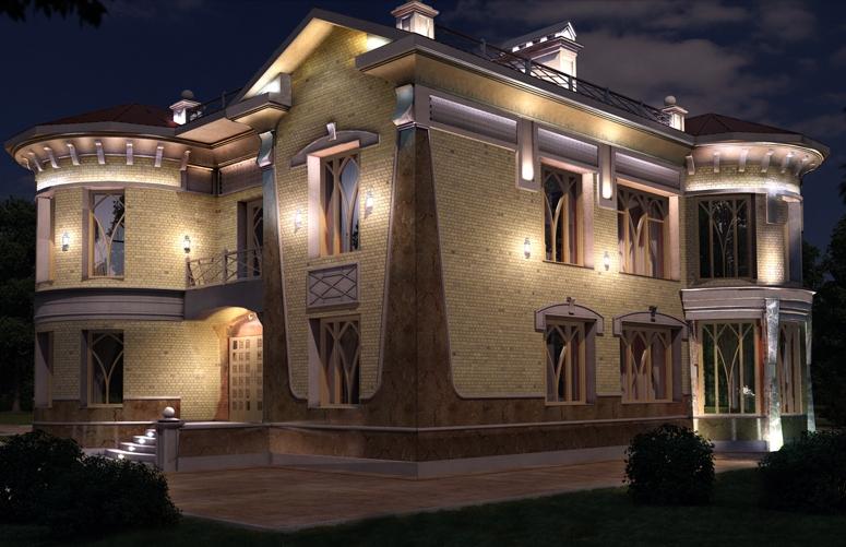 архитектурное освещение загородного дома