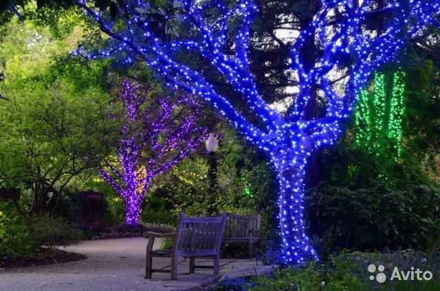 Светодиодные гирлянды на деревья