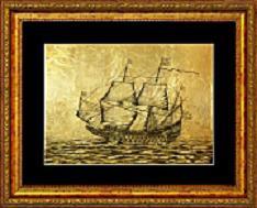 Картина корабль из золота